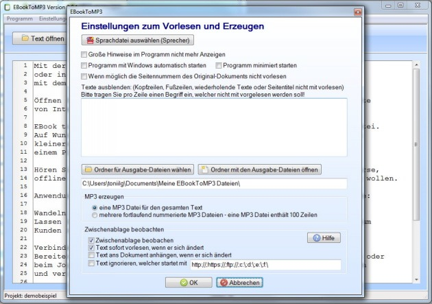 Text vorlesen lassen Windows