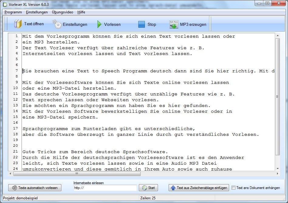Text in MP3 umwandeln